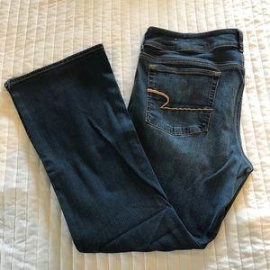 American Eagle medium/dark wash kick boot jeans